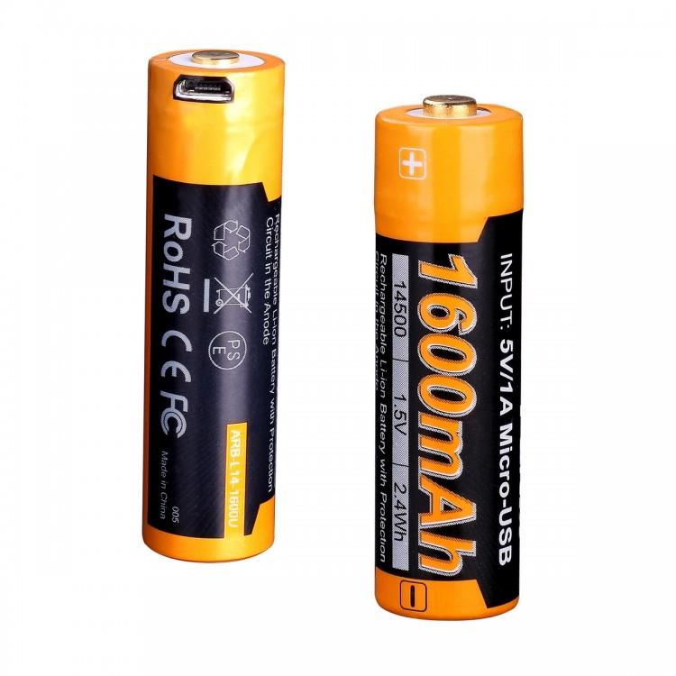 Аккумулятор 14500 Fenix ARB-L14-1600U (1600 mAh), защищенный, c разъемом микро-USB