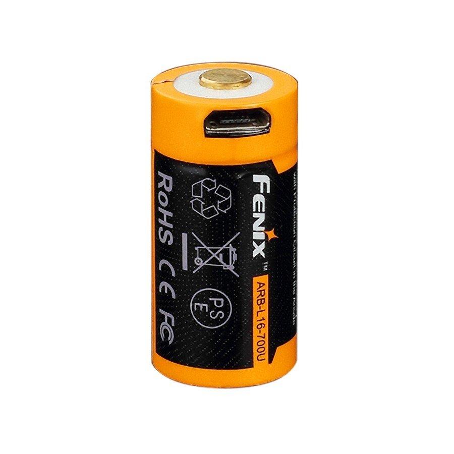 Аккумулятор 16340 Fenix ARB-L16 700U (700mAh), защищенный, c разъемом микро-USB