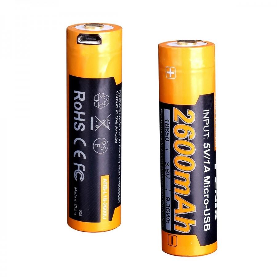 Аккумулятор 18650 Fenix ARB-L18-2600U (2600 mAh), защищенный,  c разъемом микро-USB
