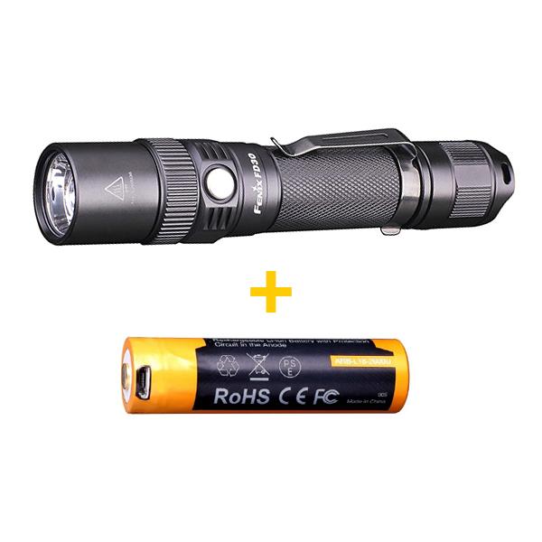 Комплект:  Фонарь Fenix FD30 + Аккумулятор Fenix 2600 mAh c микро-USB в подарок!