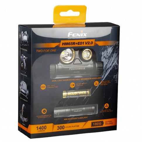 Набор: фонарь Fenix HM65R + Фонарь Fenix E01 V2.0